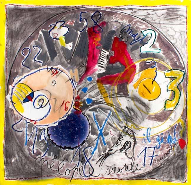 Mélopée saoule, technique mixte, 150 cm x 156 cm, 2011