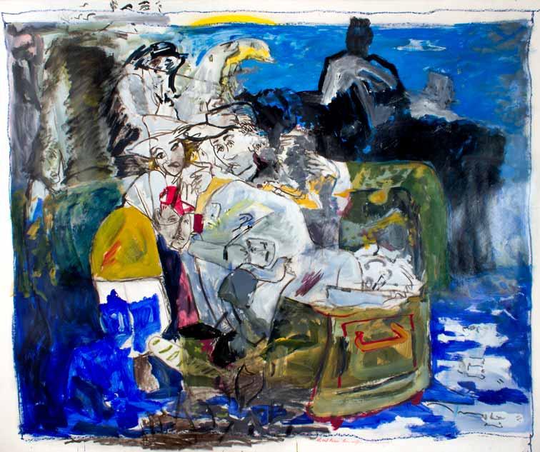 Ils ont laissé leur coffre, heureusement!, technique mixte, 150 cm x 190 cm, 1987