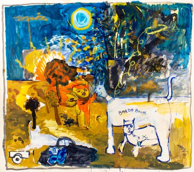 Bardaboum, il n'y a pas que les chiens écrasés, technique mixte, 143 cm x 150 cm, 1993