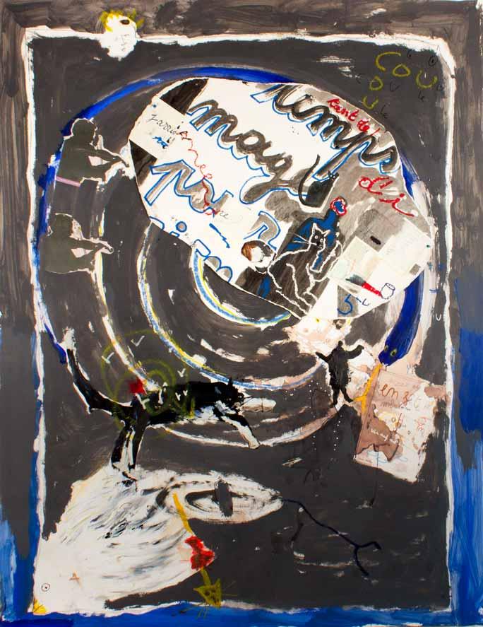 Cou tant de temps d'images pour rien, technique mixte, 184 cm x 152 cm, 2010